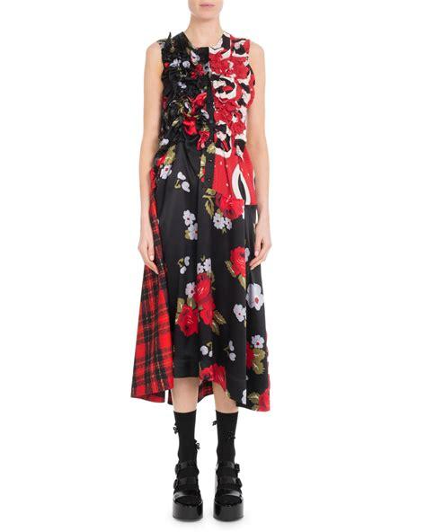Sleeveless A Line Plaid Dress rocha sleeveless a line ruched floral print plaid