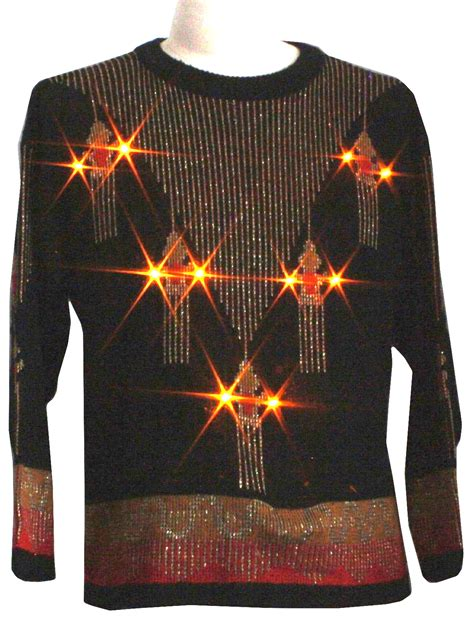 Longsleeve Black Gold 1933 Authentic retro 1980s lightup sweater 80s authentic vintage sweaters by unisex