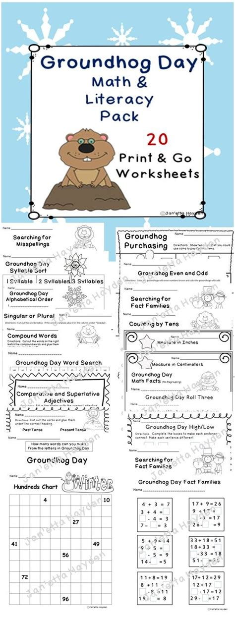 groundhog day theme literacy worksheets go math and grade 1 on