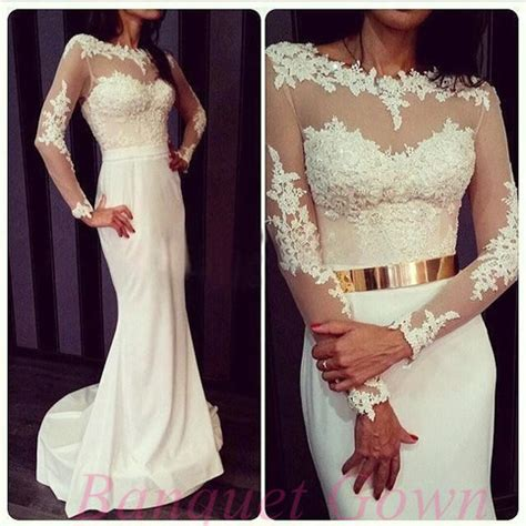 2016 princess white lace sleeves mermaid evening gowns with gold metal belt prom