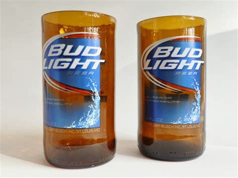 bud light bud light set of 2 bottle glasses liquor bottle