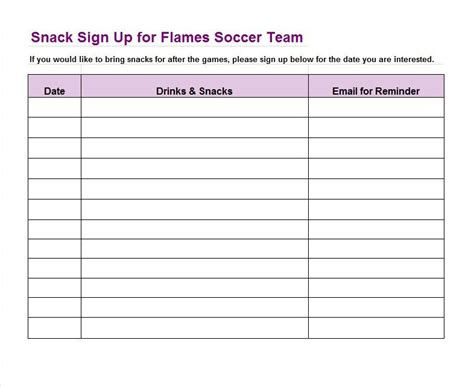 sign up sheet template 22 soccer snack sign in sheet