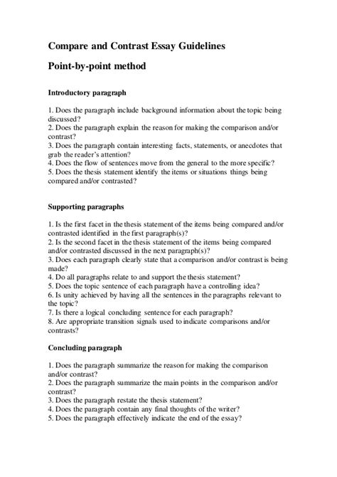 A Compare And Contrast Essay Is One That by Compare And Contrast Essay Guidelines