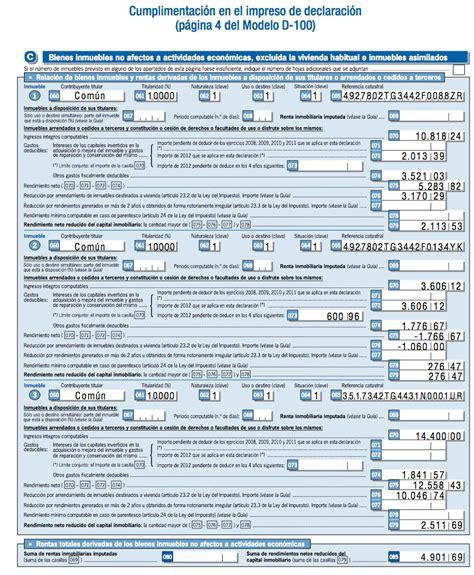 declaracion de renta 2015 ejemplo gu 237 a de la declaraci 243 n de la renta 2012 caseros
