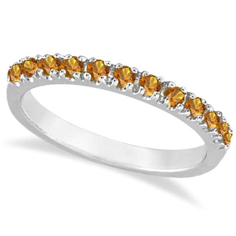 citrine stackable band anniversary ring guard 14k white