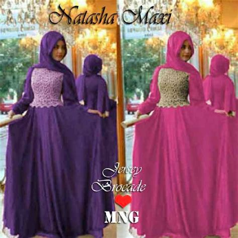 Gamis Jersey Ungu Tua capria outlet sold out thanks maxi with brokat