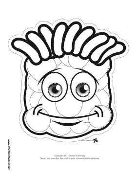 printable monster mask template printable grinning monster mask to color mask