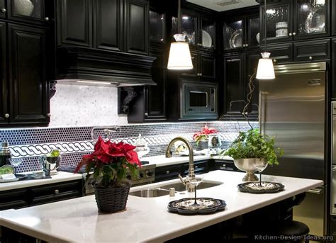 Articulating Kitchen Faucet by Luxury Black Kitchen Cabinets With Pure White Countertops