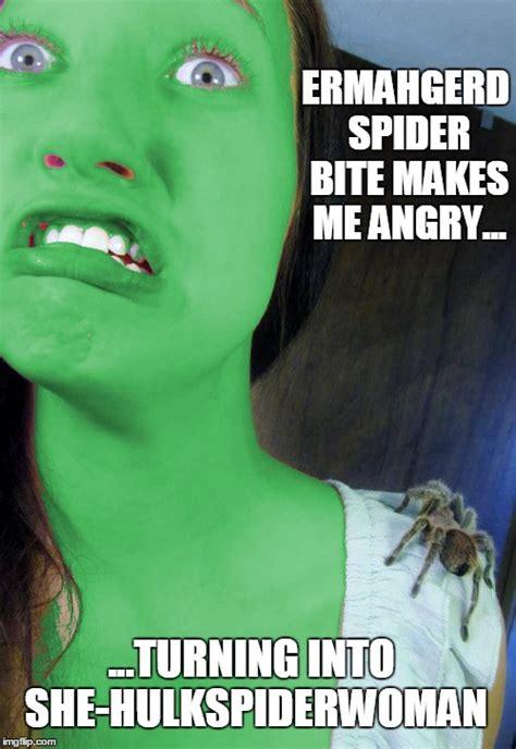 Bite Me Meme - image tagged in spiderman hulk imgflip