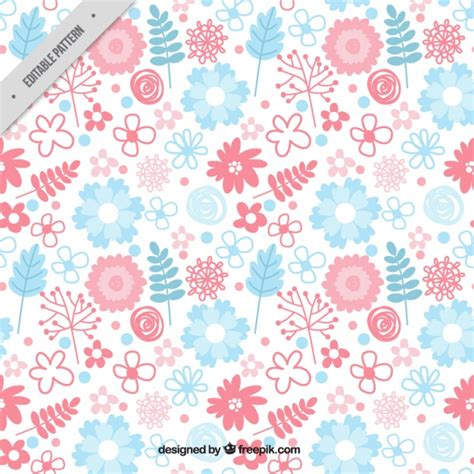 pattern pink and blue hand drawn pattern with pink and blue floral decoration