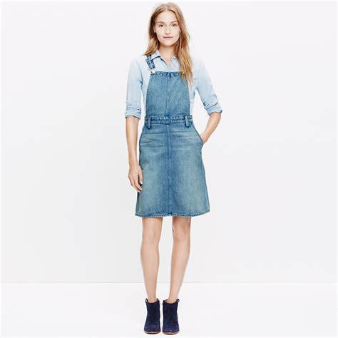 Overall Jumpsuit Minnie Denim denim jumper dress dresses skirts madewell blue