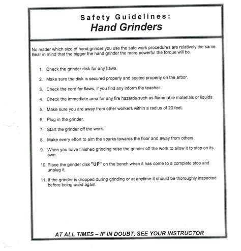 bench grinder safety procedures safety operating procedures bench grinder safety operating