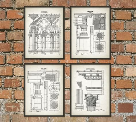 gift for architecture student architectural orders print set of 4 architecture student