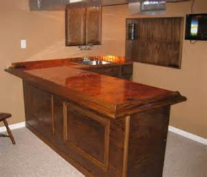 flamed copper bar top