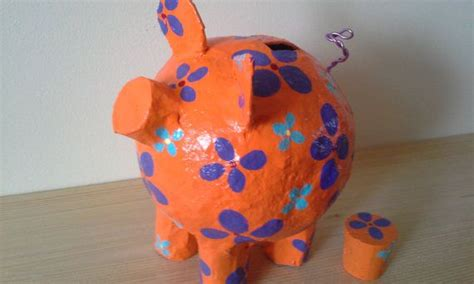 How To Make A Paper Mache Piggy Bank - handmade orange flowers paper mache piggy bank