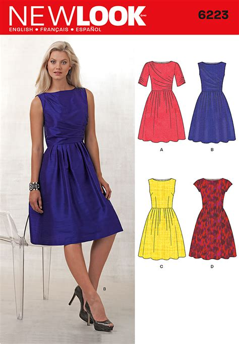 pattern in dress making new look 6223 misses dress with bodice variations