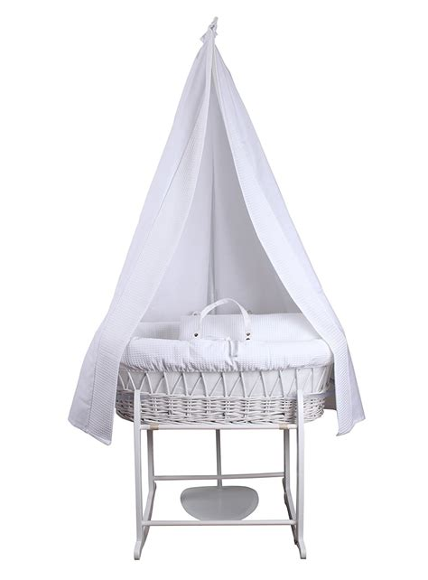 moses basket drape new clair de lune 6 piece white waffle moses basket and
