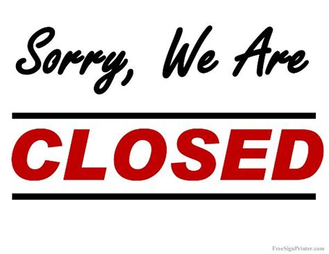 free printable closed temporary sign
