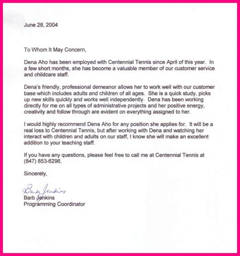 Reference Letter For Existing Employee 8 Letter Of Recommendation For A From Previous Employer
