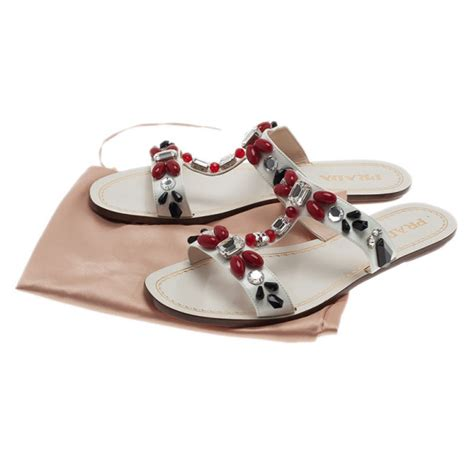 Prada Saffiano Size 25 prada white patent saffiano leather jeweled flat sandals size 39 5 buy sell lc