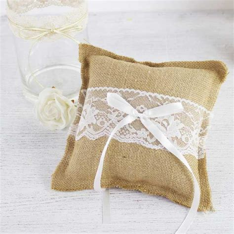 burlap and lace ring cushion my wedding store