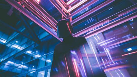 wallpaper neon lights futuristic mask  photography