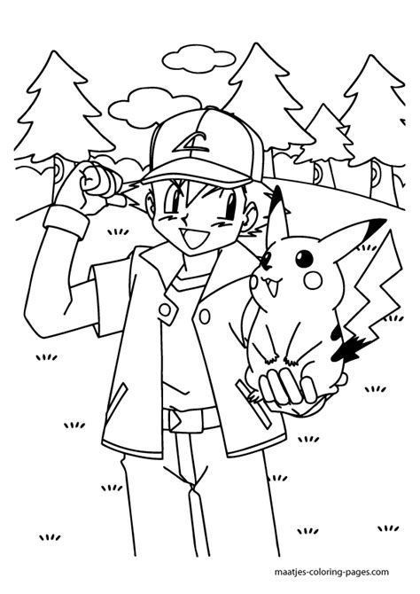 pikachu and ash ketchum coloring page