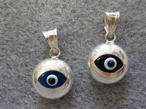 Silver Evil Eye 13 5mm Pendant sterling silver evil eye charm small pendant