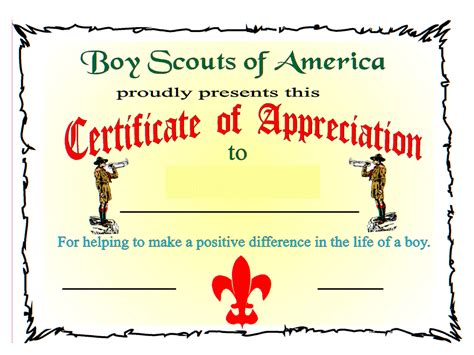 scout certificate templates bsa certificate of appreciation boy scout certificate of