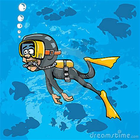 cartoon diver swimming underwater  fish royalty