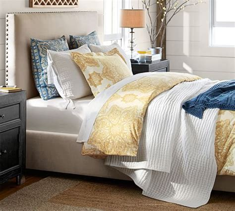 raleigh upholstered square tall bed headboard pottery barn