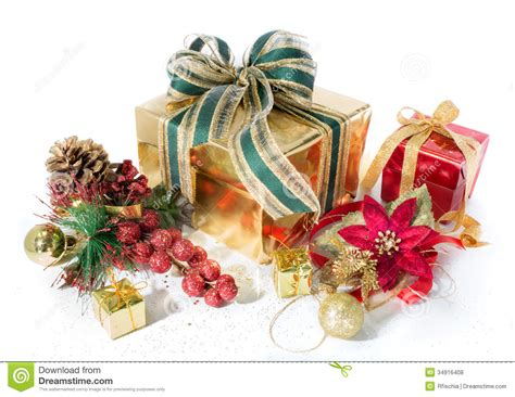 gift packages christmas red and golden with decorations