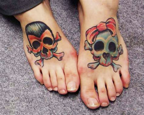 couple foot tattoos 35 adorable unique skull designs collection