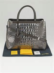 Fendi Forever Mirror Leather Purse by Fendi Silver Mirror Croc Print Quilted Patent Leather