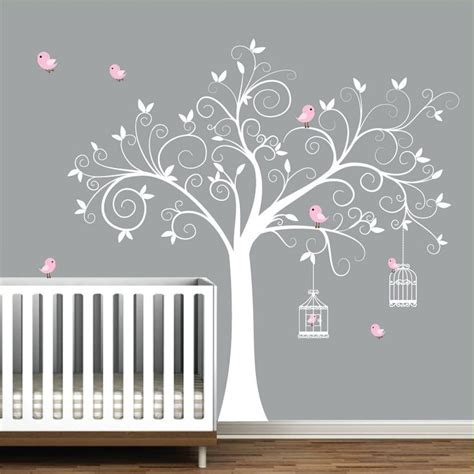 Pink Wall Decals For Nursery Wall Decal Tree With Birdcages Birds Baby Wall Decal Nursery Wall Decal E09 Vinyls Birds And