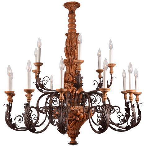 Country French Hand Carved Wood With Graceful Scrolling Country Wooden Chandeliers