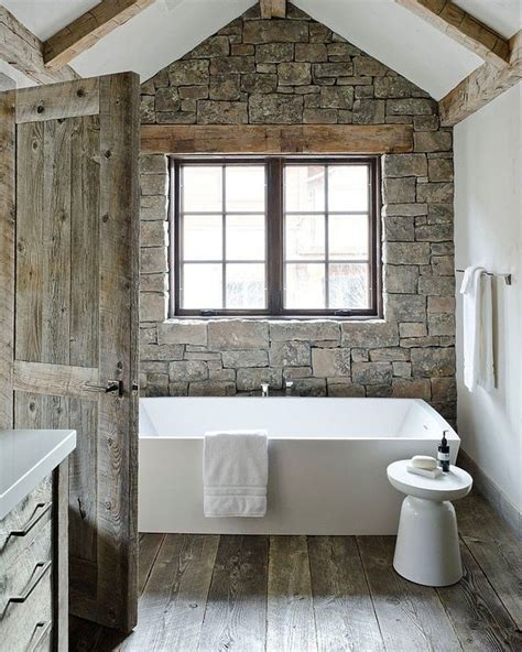 rustic modern home decor stone used in bathroom modern rustic bathroom design stone wood beams white modern tub
