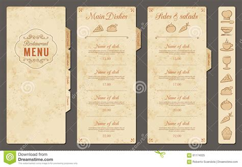 vintage menu template vintage vector restaurant menu template stock vector