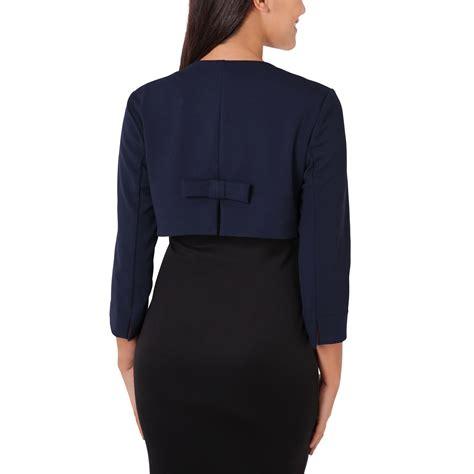 Bow Back Blazer Termurah Womens Crop Open Fit Blazer Bow Back Evening Jacket