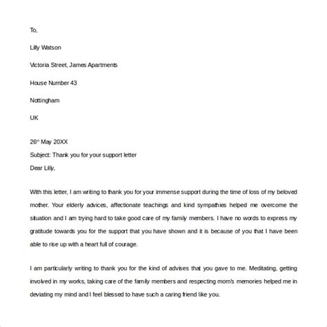 thank you for your support letter business of thanks within useful