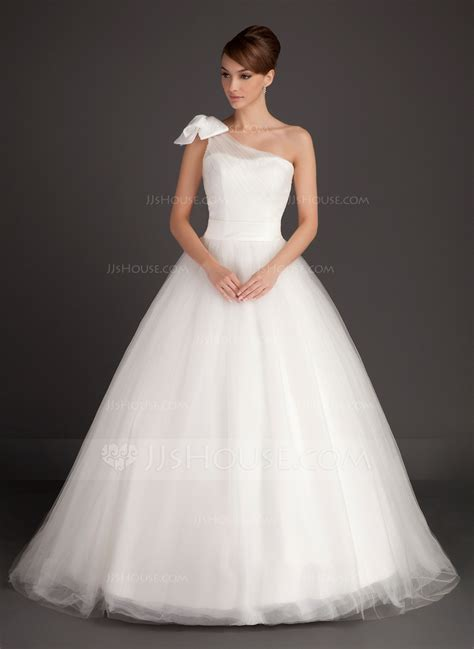 Sweep Wedding Dress by Gown One Shoulder Sweep Tulle Wedding Dress