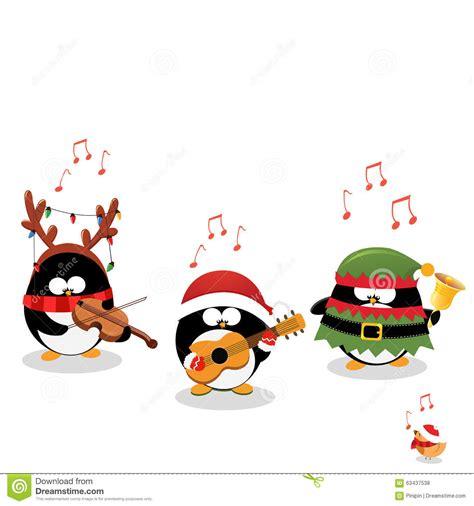 penguins playing christmas music stock vector image 63437538