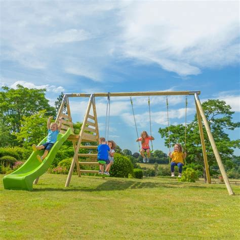 outdoor swings and slides tp round wood multi playcentre swings uk