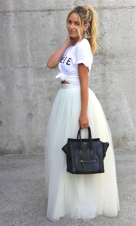 Gaun Midi Denim skirt white tulle skirt prom skirt shoes t shirt