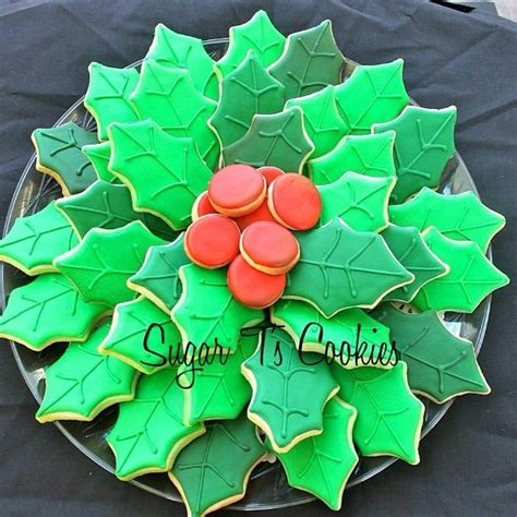 christmas holly leavessugar decorations 25 best poinsettia cookies images on decorated cookies decorated