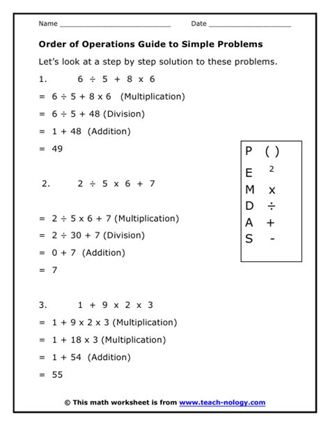 Free Printable Order Of Operations Worksheets by Basic Order Of Operations Worksheet Lesupercoin