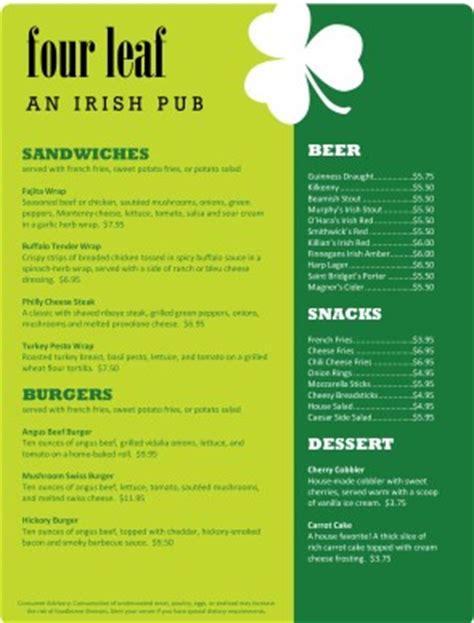 irish pub menu irish menus