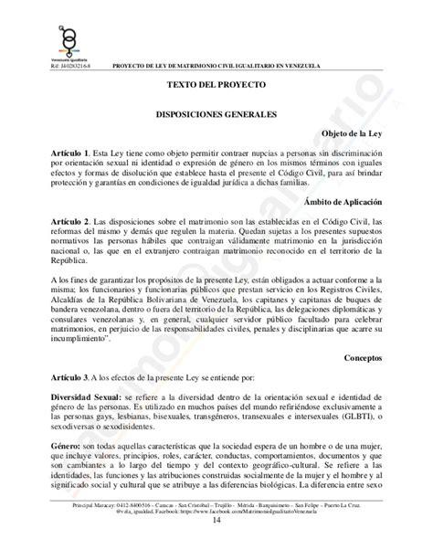 ceremonias civiles textos proyecto de ley de matrimonio civil igualitario venezuela