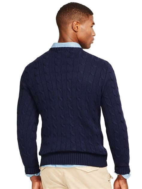 polo ralph cable knit jumper polo ralph cable knit crew neck jumper in blue for