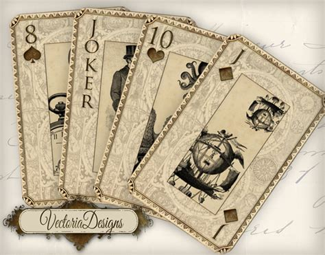 playing card print etsy printable steunk playing cards by vectoriadesigns on